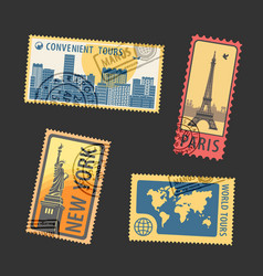Set postage stamps vector