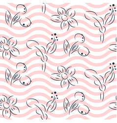 simple hand drawn flower pattern and pink wavy vector image