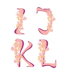 Spring alphabet with flowers letters IJKL vector