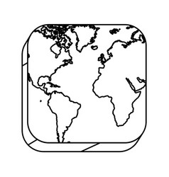 Square silhouette button with contour map vector