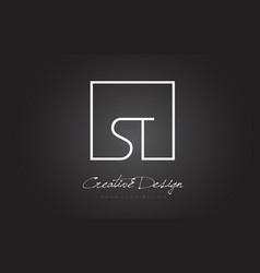 St square frame letter logo design with black and vector