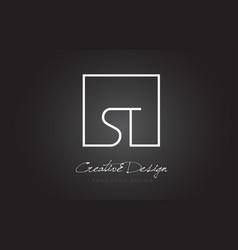 St square frame letter logo design with black vector