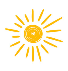 Sun yellow icon warm summer weather symbol vector