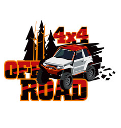 Suv rides in the wild logo of the event rally on vector