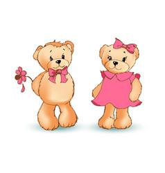 Teddy bear with flower poster vector