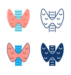 Thyroid icon set in flat and line style vector