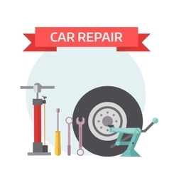 Tire service mechanic elements design concept flat vector image