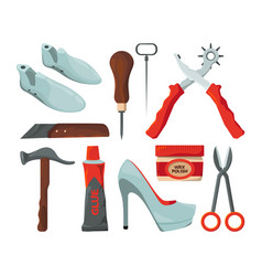 Tradesman in shoes repair workshop vector