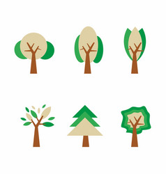 tree icon set ecology and nature symbol vector image