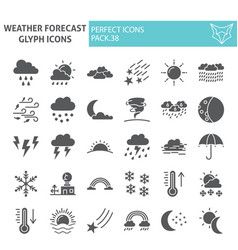 weather forecast glyph icon set climate symbols vector image