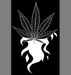 white silhouette leaf hemp from red flame on vector image