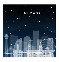 Winter night in yokohama night city in flat style vector