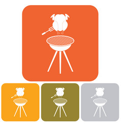 barbecue grill with chicken icon vector image