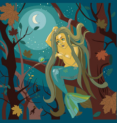 mermaid on a tree vector image vector image
