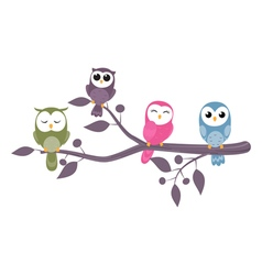 owls family sitting on branch vector image