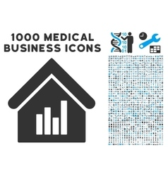 Realty Bar Chart Icon with 1000 Medical Business vector image vector image