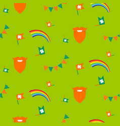 red beard rainbow and bunting seamless pattern vector image vector image