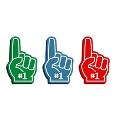 Colorful foam fingers set vector
