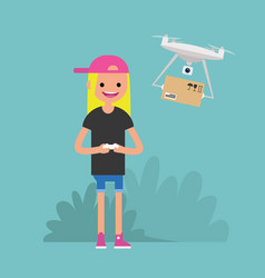 Drone delivery service young female character vector