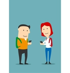 Friends texting in smartphones and using Internet vector image