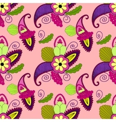 Bright seamless pattern with paisley and flowers vector image
