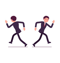 businessman in formal wear running front and rear vector image vector image