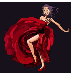 cartoon girl is dancing in a red dress vector image