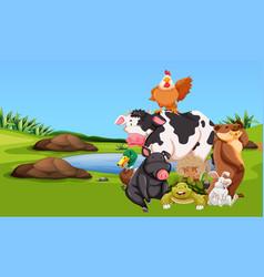 farm animals on the farmyard vector image vector image