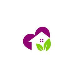 Love green house logo vector