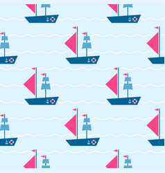 pattern with boats on the sea vector image vector image