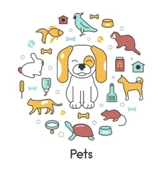 Pets Line Art Thin Icons Set with Dog Cat vector image vector image