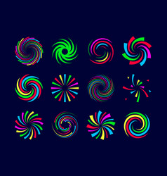 colorful festive spirals twist and swirls vector image vector image