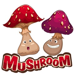 Fresh mushroom with happy face vector image vector image