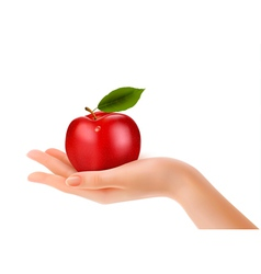 Red ripe apple in a hand Concept of diet vector image vector image