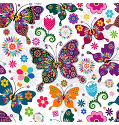 Seamless spring floral pattern vector image