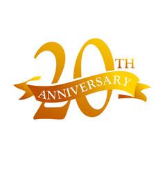 20 year ribbon anniversary vector