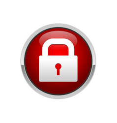 3d padlock red button security locked symbol vector
