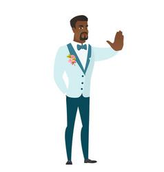 African-american groom showing stop hand gesture vector