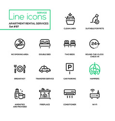 Apartment rental service - line design icons set vector