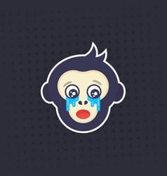 ape crying monkey sticker print vector image