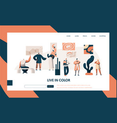 Art gallery exhibition visitor landing page people vector