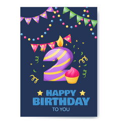 birthday anniversary number candle cheerful vector image