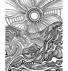 Black and white doodle style landscape vector
