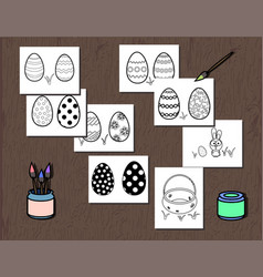 Black and white easter egg poster separated vector