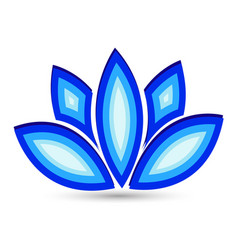 Blue lotus flower icon logo vector