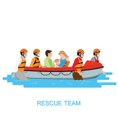 Boat rescue team helping people by pushing a boat vector