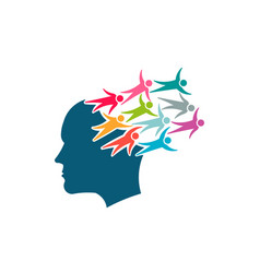 brain thinking in social network people vector image