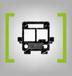 bus sign black scribble icon vector image