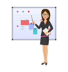 Businesswoman girl with pointer documents in vector