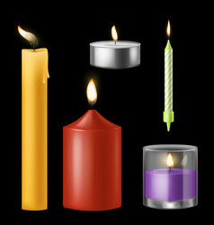 Candle realistic church and birthday aroma vector